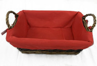 """Rectangular willow basket with handles and red fabric liner 12""""x9""""x4""""Hx6""""handle H"""