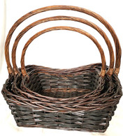 """Set of 3 Willow baskets with a handle  L: 20.4""""x15""""x8""""Hx19.2""""OH, M: 18""""x13""""x7.2""""Hx17""""OH, S: 15.2""""x10.4""""x6""""x14""""OH"""