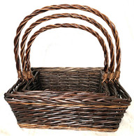 """Set of 3 Rectangular willow basket with a handle L: 18""""x14""""x6""""Hx18""""OH, M: 16""""x12""""x5""""Hx16""""OH, S: 14""""x10""""x4""""x14""""OH"""