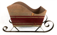 "Largest in Set of 2 Wood & metal sleighs 17""x6""x10""H"