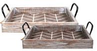 """Set o f 2 Wood trays with iron handles L: 22""""x14""""x3.75""""H S: 18""""x11""""x3.75""""H"""