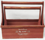 "Set of 2 Red wooden tool box style baskets L:16.25""x7.75""x5.75""Hx14""TH, S:14.5""x6""x4.5""x12""TH"
