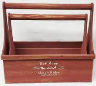 "Set of 2 Red wooden tool box style baskets L:16.25""x7.75""x5.75""Hx14""TH, S:14.5""x6""x4.5""x12""TH"