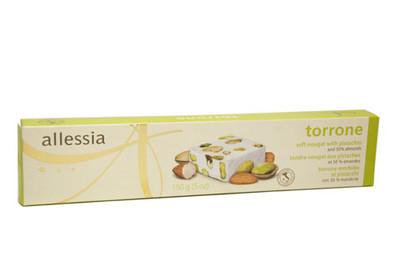 Allessia Torrone soft nougat with pistachio & 50% Almonds 150gr.,  (5 OZ)