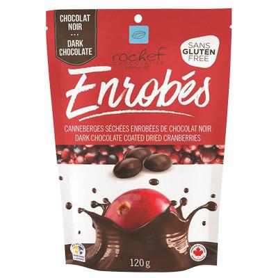 Rochef dark chocolate coated dried cranberries 120 gr.,  12/cs