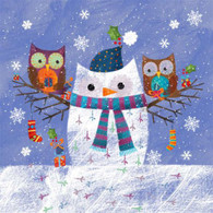 "Lunch napkins - Snow Owls 6.5""x6.5"""