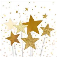 "Lunch napkins - Golden Stars 6.5""x6.5"""