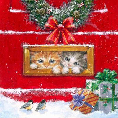 "Lunch napkins - Hiding Kittens 6.5""x6.5"""
