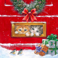 "Lunch napkins - Hiding Kittens 6.5""x6.5"""