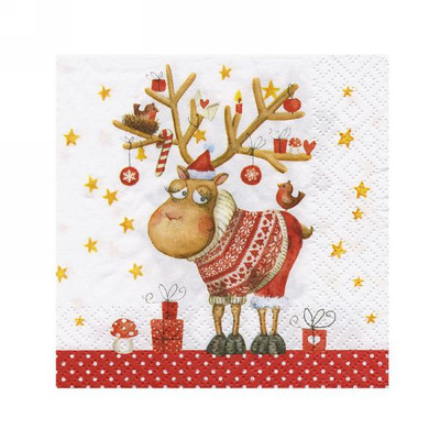 "Cocktail Napkins - Funny Reindeer 5""x5"""