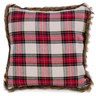 "Red plaid cushion with faux fur trim 18""X18""  (insert Pillow included and there is a hidden zipper at the bottom of the cover to ensure a clean, tailored look)"