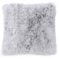 "Black & white faux fur cushion 17""X17"""