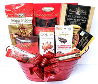 Christmas gourmet gift basket KIT includes 10 Items,  Shredded paper, Cellophane bags and Pull bows  Do it yourself Gift Basket!  (Minimum 12)