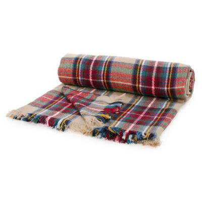 Colorful plaid throw with fringe