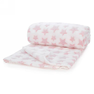 "Fleece baby blanket - pink stars 40""x31"""