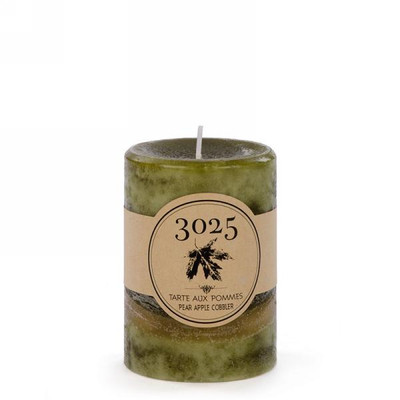 "Green pear apple scented candle 3""x4""H"