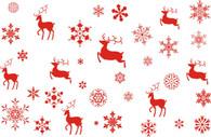 "Red REINDEER & Snowflakes Printed Cellophane roll 40""x100'"