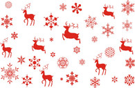 "Red REINDEER & Snowflakes Printed Cellophane roll 40""x100'"