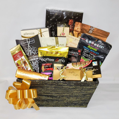 Christmas Gourmet gift basket KIT includes 14 food Items plus fabric basket, shredded paper, cello bag and pull bow.