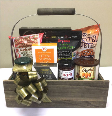 "Gift basket kit to make 12 gift baskets.  This kit contains 10 Items including the basket, plus crinkle paper filler, Cellophane bag and a 5"" matching Pull Bow."