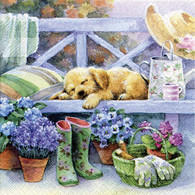 "Lunch Napkins - Flowers & Sleeping Puppy 6.5""x6.5"""