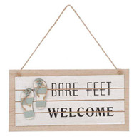 """Bare Feet Welcome hanging sign 12""""x6"""""""