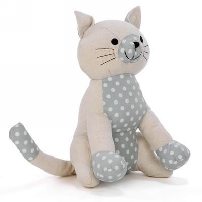 """Cream cat door stopper with polka dots 7""""x6""""x10.5""""H"""