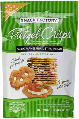 Snack Factory Pretzel Crisps Garlic - Parmesan 200 gr., 12/cs