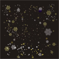 "Printed Cellophane roll 40""x100' Gold & Silver Snowflakes & Stars pn clear cello"