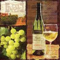 "Lunch napkin - wine & green grapes 6.5""x6.5"""