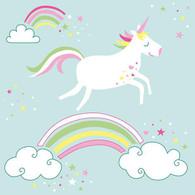 "Lunch Napkins - Rainbow Unicorn 6.5""x6.5"""