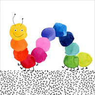 "Lunch Napkins - Happy Caterpillar 6.5""x6.5"""