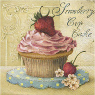"Lunch Napkins - Strawberry Cupcake 6.5""x6.5"""