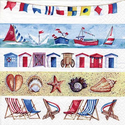 """Lunch Napkins - To the Beach 6.5""""x6.5"""""""
