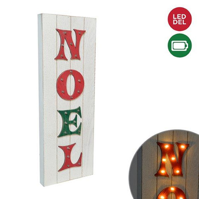 "LED Light up Wood NOEL Sign 6.5""x18""H"