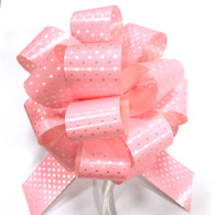 "5"" Pull Bows - 50 bows/case - Pink with white polka dots"