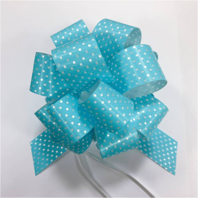 """5"""" Pull Bows - 50 bows/case - Blue with white polka dots"""