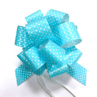 "5"" Pull Bows - 50 bows/case - Blue with white polka dots"