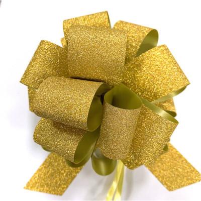 "5"" Glitter Pull Bows - 50 bows/case - Gold Glitter"