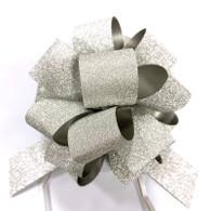 """5"""" Glitter Pull Bows - 50 bows/case - Silver Glitter"""