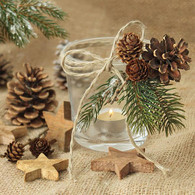 "Lunch napkins - candle & pinecones 6.5""x6.5"""