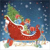 "Lunch napkin - sled with presents 6.5""x6.5"""