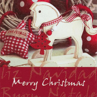 "Lunch napkin - Merry Christmas Horse  6.5""x6.5"""