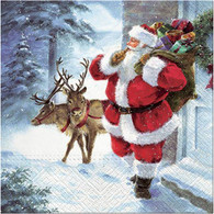 "Lunch napkin - Santa with gifts 6.5""x6.5"""