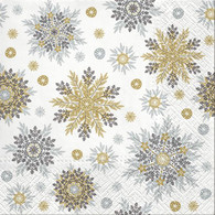 "Lunch napkin - snowflakes gold & silver 6.5""x6.5"""