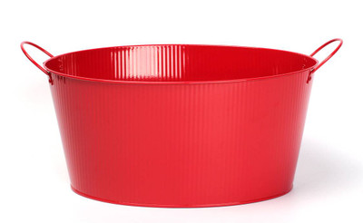 "Oval Red metal container with ear handles 15.2""x11.2""x7.2""H (excluding handles)"