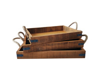 Set of 3 wood trays with metal brackets and jute handles
