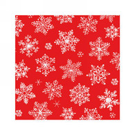 "Cocktail napkin - snowflakes on red 5""x5"""