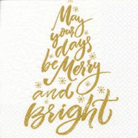 "Lunch Napkins - May your days be Merry & Bright 6.5"" x 6.5"""
