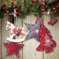 "Lunch Napkins - Pine & Ornaments 6.5"" x 6.5"""